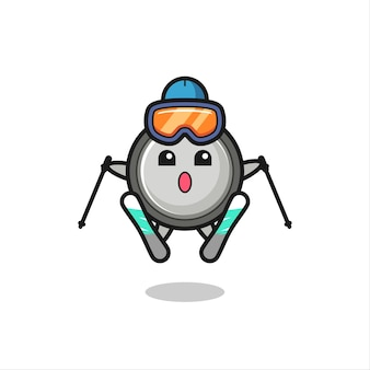 Button cell mascot character as a ski player , cute style design for t shirt, sticker, logo element