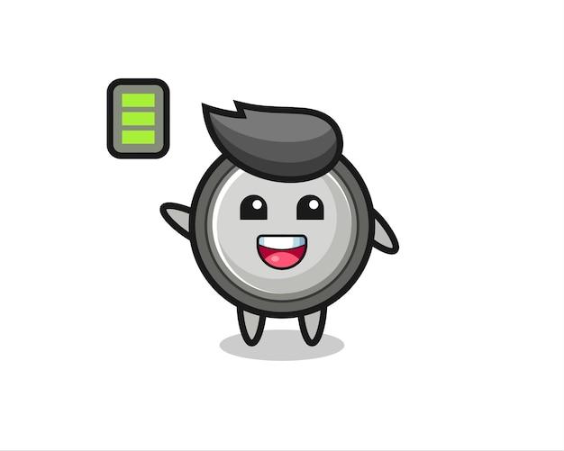 エネルギッシュなジェスチャーでボタン電池のマスコットキャラクター、tシャツ、ステッカー、ロゴ要素のかわいいスタイルのデザイン
