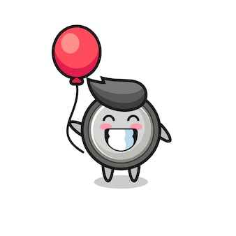 Button cell mascot illustration is playing balloon , cute style design for t shirt, sticker, logo element