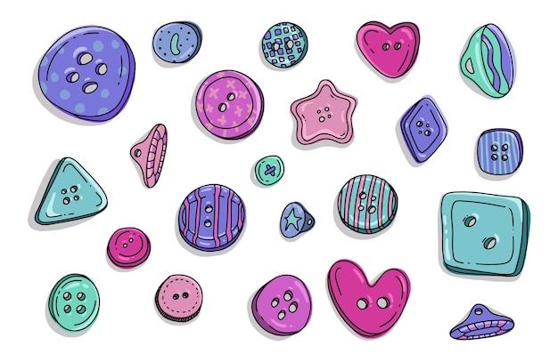 ボタン服落書きセット漫画風のカラフルな子供たちのプラスチック布丸ボタンのコレクション