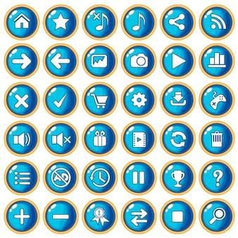 Цвет кнопки синий бордюр золотой для игры в стиле пластик.