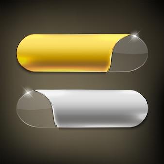 ボタンの色はゴールドとシルバーの光沢