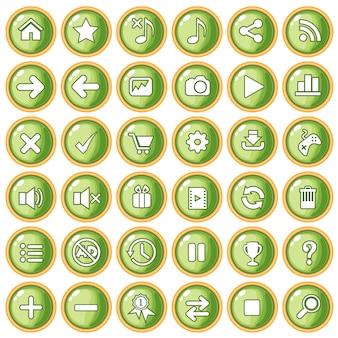 Цвет кнопки зеленый персиковый бордюр золотой для игры в стиле пластик.