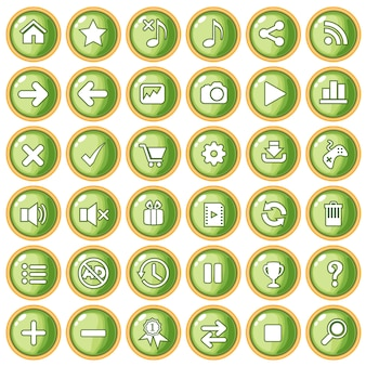 Button color green peach border gold for game style plastic.