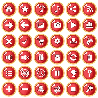 Цвет кнопки красный бордюр золотой для игры в стиле пластик.