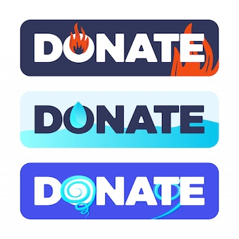 The button of donate or material assistance for natural disasters fire, flood, hurricane, tornado