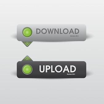ボタンのダウンロードとアップロードweb白と黒