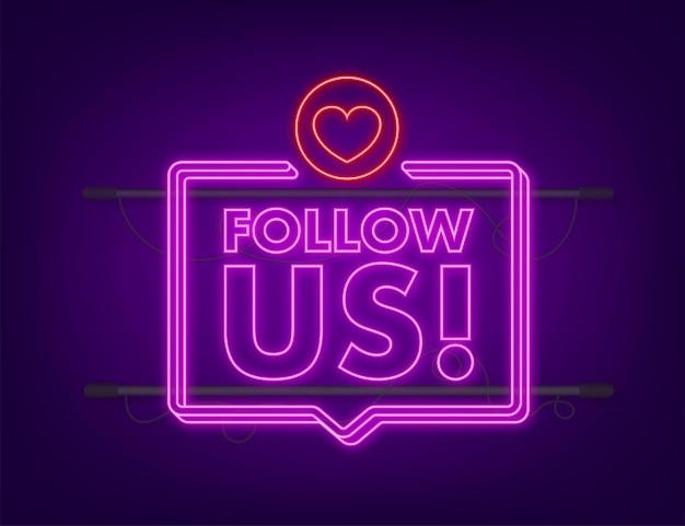 Button follow us on dark background. neon icon. vector illustration.