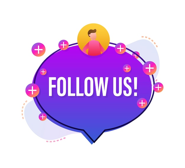 Button follow us on white background. vector illustration.
