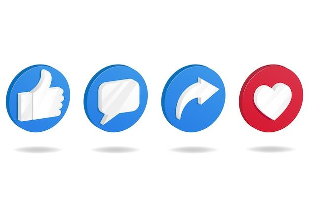 Значок кнопки в социальных сетях. большой палец вверх и значок сердца с иконками репостов и комментариев.