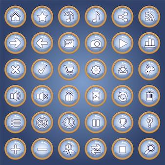 Button icon set color blue light for games.