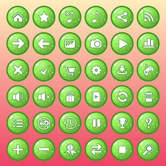 Button icon set color green style glossy jelly.