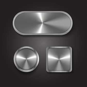 Button metal silver