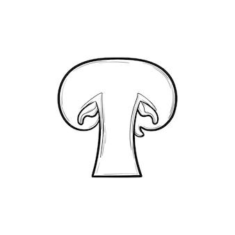 버튼 버섯 손으로 그린 개요 낙서 아이콘입니다. 흰색 배경에 격리된 인쇄, 웹, 모바일 및 인포그래픽을 위한 건강한 생 버섯 조각의 벡터 스케치 그림입니다.