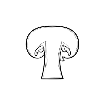 Button mushroom hand drawn outline doodle icon. vector sketch illustration of slice of healthy raw mushroom for print, web, mobile and infographics isolated on white background.