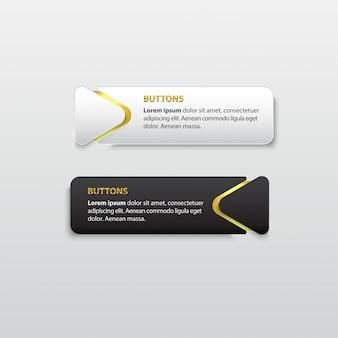 Button premium glossy black and white gold
