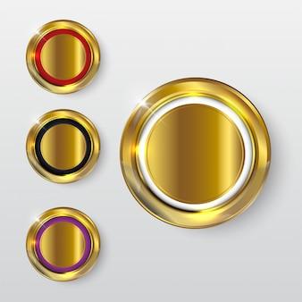 ボタンプレミアム光沢のあるゴールド2
