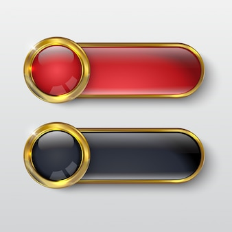 ボタンプレミアムグロスレッドゴールド