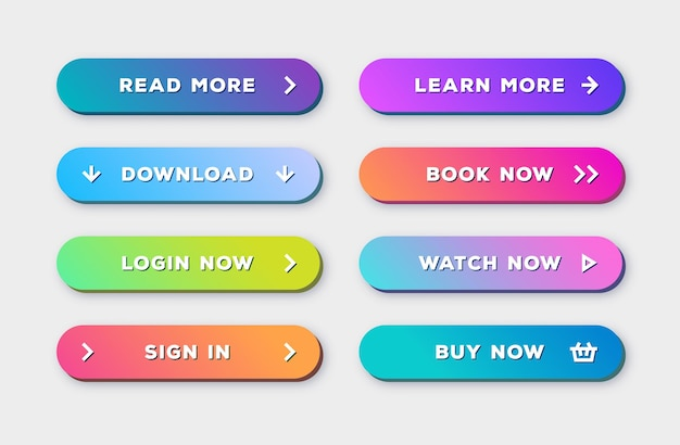 Button set 3d bold modern trendy gradient style with shadow