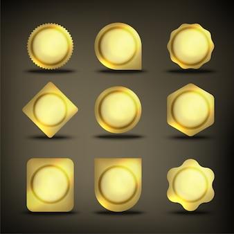 ボタンセットカラーゴールドシェイプ