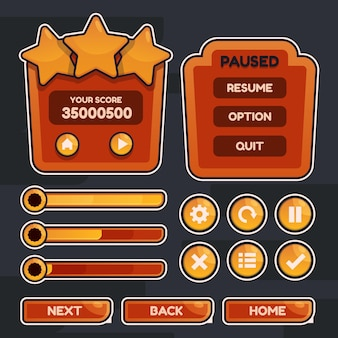 Button set designed game user interface gui illustration for video games computers