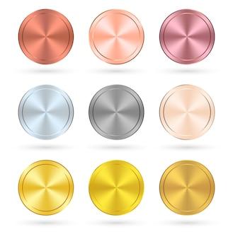버튼 세트 모던 서클 컬러 골드 핑크와 블랙