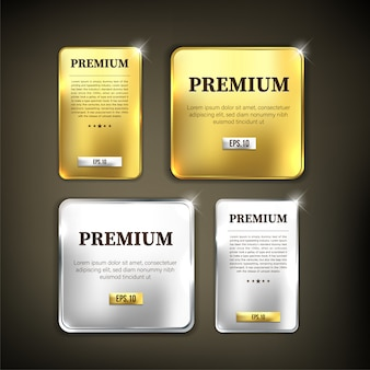Button set premium gold and silver