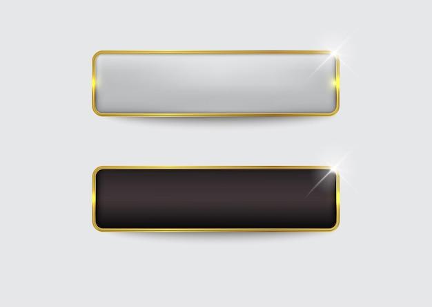Button set web glossy black gold3