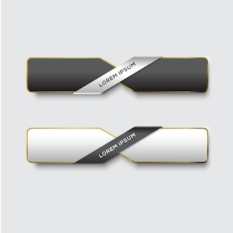 Button set web glossy black gold
