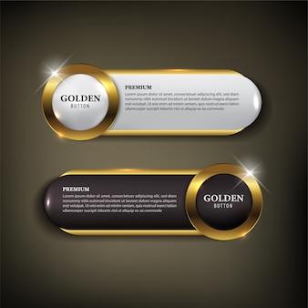 ボタンセットweb白と黒の色の黄金