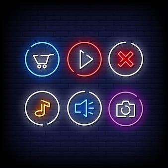 Символ кнопки неоновые вывески стиль текста