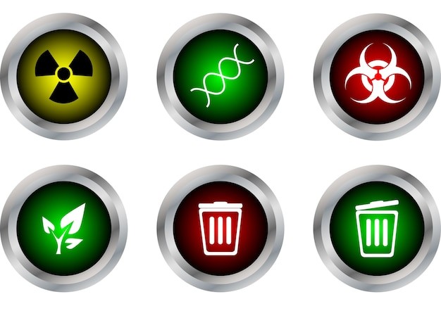 Button symbol ,radioactive, dna, biohazard, ecology, bin close, bin open