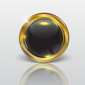 ボタンウェブの光沢のあるブラックゴールド