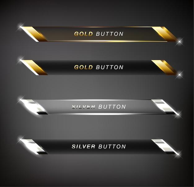 버튼 웹 광택 금색과 은색