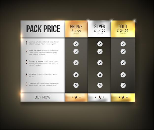 ボタンウェブ価格表パック
