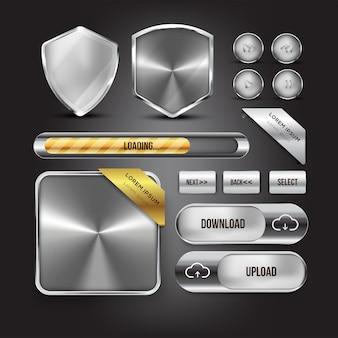 Button web set color silver