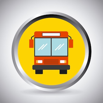 Button with bus vehicle icon