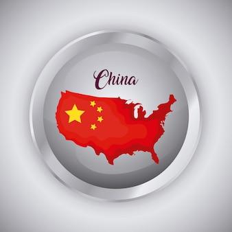 中国の旗と地図デザインのボタン