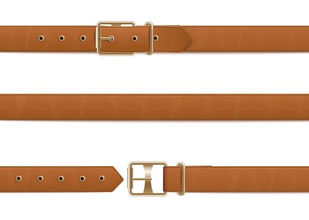 Открытый и закрытый коричневый кожаный ремень на пуговицах с металлической пряжкой