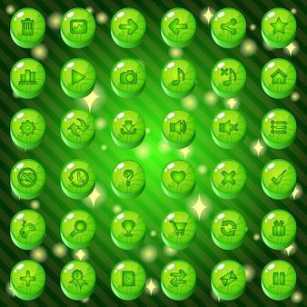 Кнопки и набор значков для игры или веб-темы имеют зеленый цвет.