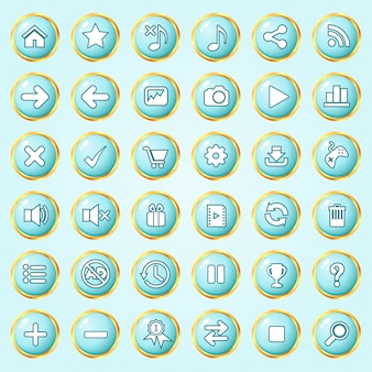 Buttons circle color blue sky border gold icon set for games.