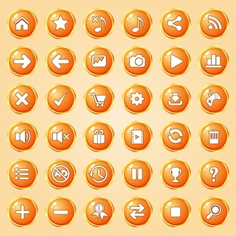 Buttons circle color orange border gold icon set for games.