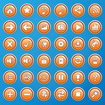 Кнопки цветные оранжевые и иконки графического интерфейса для игр.