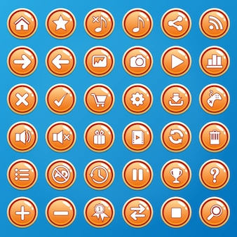 Buttons color orange and icons gui for games.