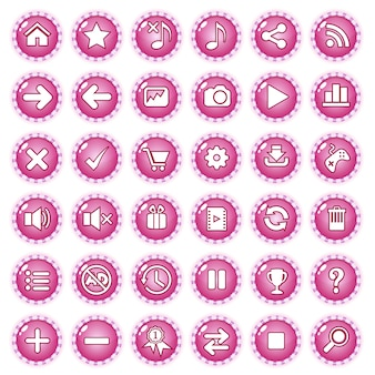 Buttons gui game border line candy color pink.