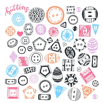 Buttons hand drawn isolated set. vector handmade collection for design and decoration.