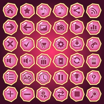 Buttons icon set design deluxe shape color pink for game.