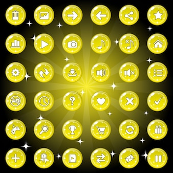 Buttons and icon set design for game or web theme color yellow.