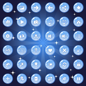 Buttons and icon set design for game or web theme is color blue.