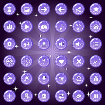 Buttons and icon set design for game or web theme is color purple.